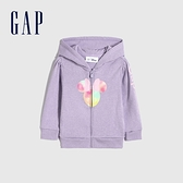 Gap女幼童 Gap x Disney迪士尼聯名 碳素軟磨系列法式圈織 連帽外套 681239-淡紫色