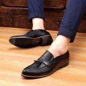 布洛克男鞋雕花黑色韓版休閒皮鞋男士加絨圓頭英倫小皮鞋男子 新品促銷