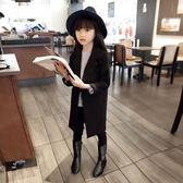 女童西裝外套 2019春秋裝新款歐美風一粒紐扣女童長款修身款西服中大童外套西裝 果寶時尚