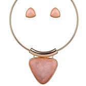 項鍊鍍18K金+耳環-簡約三角形短款項圈歐美女毛衣鍊3色73nt41【時尚巴黎】