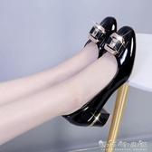 韓版2020春秋低幫鞋時尚粗跟高跟單鞋百搭休閒中跟LO職業女鞋皮鞋 雙十二全館免運
