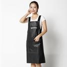 皮背心式PU圍裙防水防油廚房