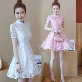 夏裝新款女時尚修身顯瘦短袖改良式旗袍收腰 LR3168【VIKI菈菈】