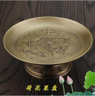 純銅浮雕蓮花供盤供佛果盤碟子高腳貢盤佛具水果盤