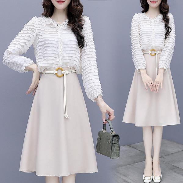 韓版 S-2XL 初秋新款赫本風半身裙套裝女2020年早秋季洋氣輕熟氣質禦姐兩件套9208 NA32-A 依品國際