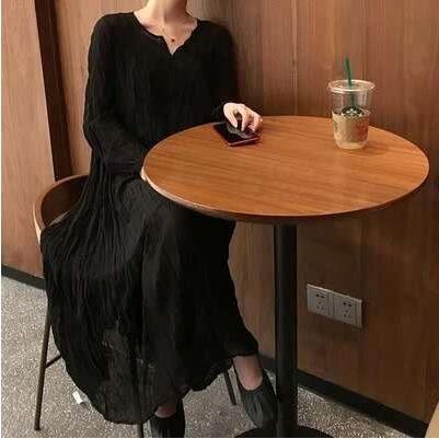 工廠批發不退換小黑裙洋裝禮服S-XL/30502仙女溫柔雪紡長裙子很仙的chic閨蜜裝長袖連身裙依品攻擊