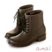 amai  SGS認證-挺版修飾軍靴造型雨靴 灰