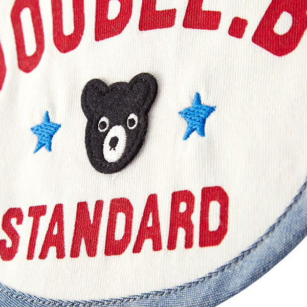DOUBLE_B 日本製 黑熊星星圍兜 (白)