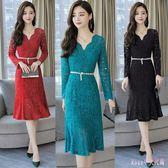 大尺碼蕾絲洋裝 秋季新款女裝連身裙女中長款氣質顯瘦包臀一步裙 DR4541【Rose中大尺碼】
