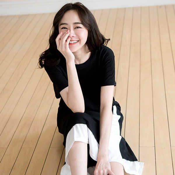 MIUSTAR 正韓-假兩件視覺顯瘦側剪接配色竹節棉洋裝(共2色)【NJ0706RE】預購
