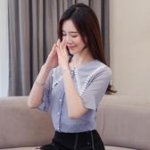 韓系 夏季韓範薄款S-2XL仙氣白色襯衫上衣女小衆設計感小心機襯衣1936 D614-B 依品國際