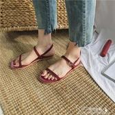 涼鞋-涼鞋女夏季新款韓版百搭學生平底露趾中空一字扣帶軟妹羅馬鞋 提拉米蘇