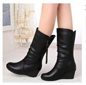 中年人婦女靴子秋冬季加絨半桶中跟皮鞋媽媽高跟中筒馬靴中長冬天 蘑菇街小屋