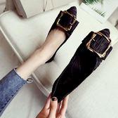單鞋女新款韓版時尚百搭方扣平底鞋套腳淺口尖頭平跟瓢鞋  卡布奇諾