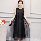 夏季無袖洋裝新款大碼女裝A字純色圓領高檔繡花長裙 df611【大尺碼女王】