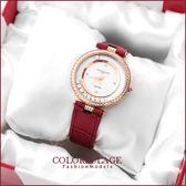 Valentino范倫鐵諾 奢華滾鑽珍珠貝真皮手錶腕錶 名媛單品 柒彩年代【NE909】原廠正品