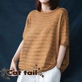 《貓尾巴》DY-0577 韓版百搭螺紋針織短袖上衣(森林系 日系 棉麻 文青 清新)
