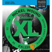 美國 D'Addario EXL220BT 貝斯弦 加長型(40~95)【貝斯弦專賣店/DAddario/EXL-220BT】