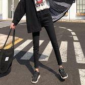 加絨牛仔褲女春秋冬高腰黑色韓版顯瘦緊身小腳九分褲 迪澳安娜