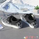 帆布鞋 秋冬黑色低幫字母帆布鞋女學生休閒百搭2021年新款板鞋爆 愛丫 免運