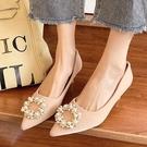 尖頭鞋.韓版優雅迷人珍珠花圈高跟包鞋.白鳥麗子