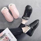 新年好禮85折 冬季棉拖鞋包跟情侶男女居家室內大碼PU皮保暖防滑厚底防滑棉鞋