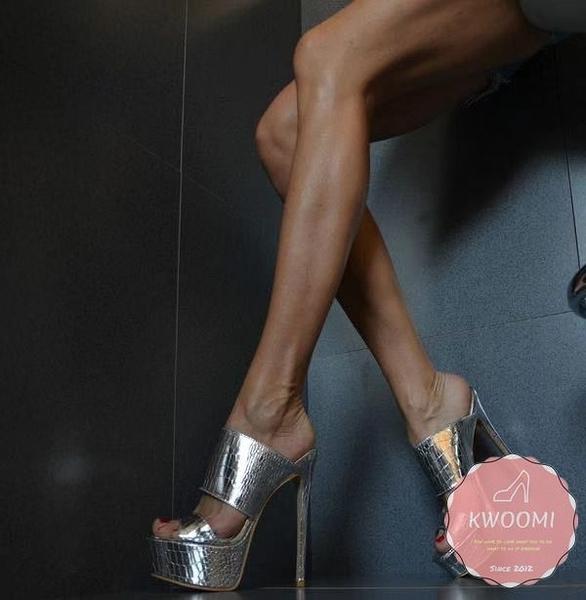高跟涼鞋 銀色舞臺款細跟 高跟拖鞋 高跟鞋 晚宴鞋 新娘鞋#*KWOOMI-A31