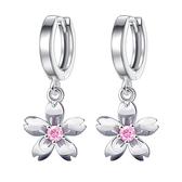 粉鑽/對 氣質鍍銀韓版時尚簡約小櫻花耳釘 女花朵耳飾《小師妹》A0066