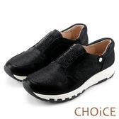CHOiCE 舒適渡假款 羊皮蔥布燙鑽厚底休閒鞋-黑色