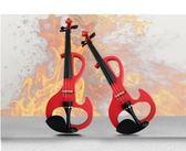 電子小提琴  4/4-1/2  全手工紅色電子小提琴 反S電小提琴 演奏提琴 練習首選【藍星居家】