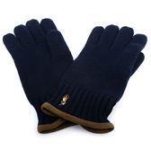 RALPH LAUREN POLO 新款刺繡小馬logo羊毛手套(深藍色)780951-3