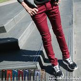 彈性休閒褲【ST91262】OBI YUAN韓版皮標口袋合身剪裁工作褲/鉛筆褲共7色