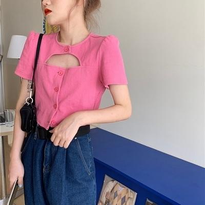 J496# 韓版設計感小眾氣質鏤空性感 小心機T恤 6535棉ME048胖妞衣櫥