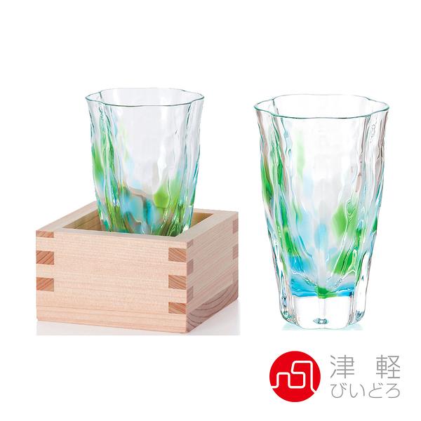 日本津輕 清萌綠手作清酒杯(含木盒)