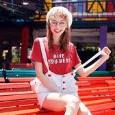 女T恤寬鬆短袖粉色字母上衣ins夏新款t恤女網紅糖果色洋氣彩色紅色 小天使
