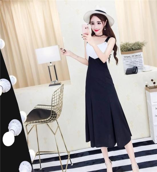 夏季新款女韓版氣質撞色拼接高腰吊帶洋裝長款無袖背帶裙潮