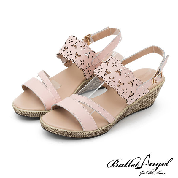楔型涼鞋 戀夏時光雕花真皮楔型涼鞋(粉)*BalletAngel【18-758pk】【現貨】