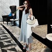 日系棉麻洋裝長裙~條紋連身裙女韓版學生過膝長款寬松大碼襯衫裙無袖荷葉邊打底裙DC131衣時尚