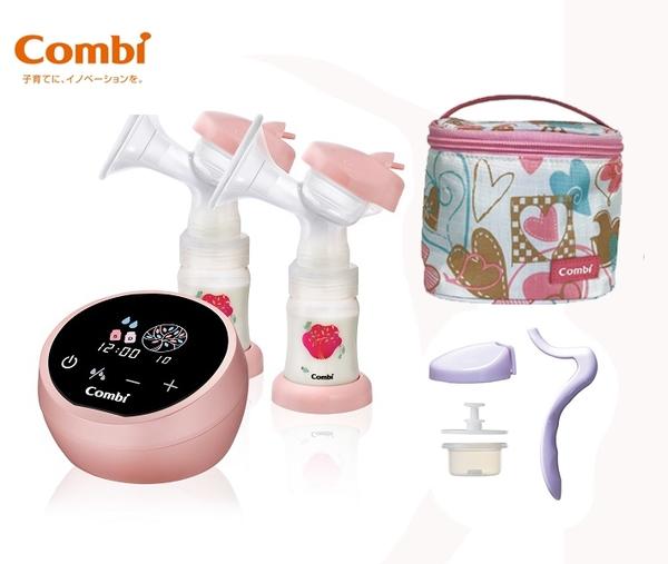 康貝 Combi 自然吸韻雙邊電動吸乳器LX(贈手動配件組+真實含乳寬口玻璃奶瓶240mlX3)