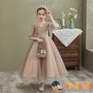 兒童公主裙女童表演禮服裙長款蓬蓬紗洋裝主持人晚禮服【淘嘟嘟】