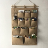 復古黃麻掛袋懸掛式多層收納袋布藝壁掛多層門後掛牆儲物袋   卡布奇諾