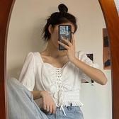 2020年新款心機泡泡袖短袖白色襯衫設計感小眾短款法式方領上衣女