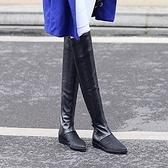 長靴-個性骷髏頭後拉鍊舒適平底真皮女過膝靴2款71ab31【巴黎精品】