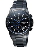 VOGUE 嶄新系列三眼計時腕錶-IP黑x白時標 9V1407-251D-B
