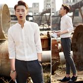 夏季立領襯衫男士五七分袖休閒白襯衣韓版修身短袖寸衣半長袖潮薄 快速出貨