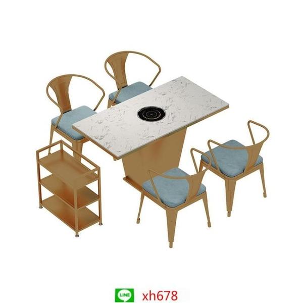 大理石火鍋桌子電磁爐一體烤涮家用無煙火鍋桌商用圓桌餐桌椅組合【頁面價格是訂金價格】