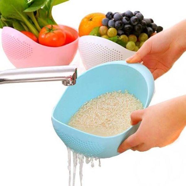 現貨-大號炫彩加厚廚房淘米器 洗米篩淘米盆塑料瀝水洗菜籃【B089】『蕾漫家』