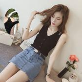 小可愛 韓版針織吊帶背心雙肩帶女2019夏季新款修身紐扣V領無袖打底上衣