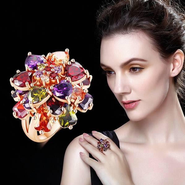 奢華蒙娜麗莎花朵水晶彩鑽鋯石戒指 (0294)