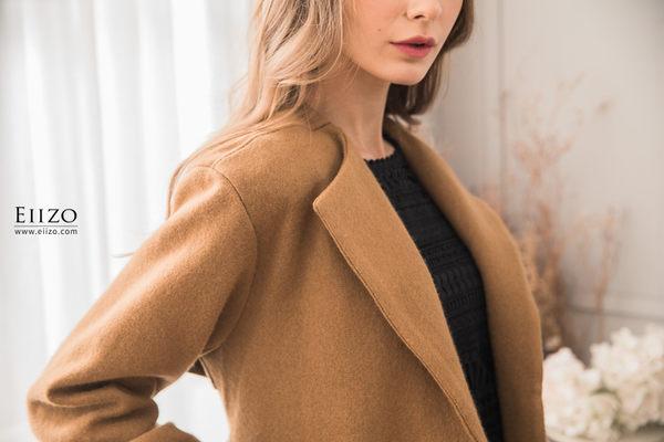 【EIIZO】英倫風羊毛挺版大衣(焦糖)